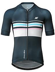 baratos -Mysenlan Homens Manga Curta Camisa para Ciclismo - Azul Escuro Moto Camisa / Roupas Para Esporte Poliéster / Zíper YKK