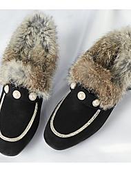 Недорогие -Жен. Комфортная обувь Замша / Полиуретан Зима Мокасины и Свитер На низком каблуке Черный / Винный / Оранжевый и черный