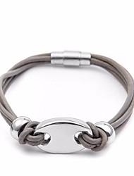 baratos -Homens Fashion / Entrançado tear Bracelet - Aço Titânio, Pele Porco Punk, Europeu, Na moda Pulseiras Preto / Cinzento / Marron Para Rua / Feriado