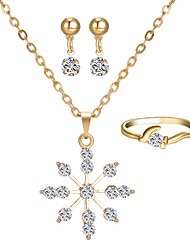 cheap -Women's AAA Cubic Zirconia Stylish / Rolo Jewelry Set - Snowflake Simple, Romantic, Sweet Include Hoop Earrings / Necklace / Ring Gold For Daily / Date