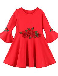 Недорогие -Дети Девочки Однотонный / Цветочный принт Длинный рукав Платье