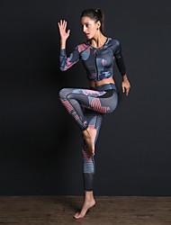 billiga -Dam Front Ziper Träningsoverall / Yoga Suit - Blå sporter Tryck Leggings / Bra Top / Magtröja Yoga, Gym, Träna Långärmad Sportkläder Andningsfunktion, Magkontroll, Sportflex Hög Elasisitet / Vinter