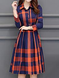 Недорогие -Жен. На каждый день Оболочка Платье - Шахматка Рубашечный воротник До колена