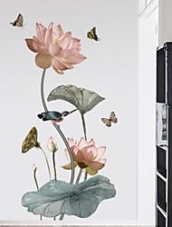 abordables -Autocollants muraux décoratifs - Autocollants avion A fleurs / Botanique Chambre à coucher
