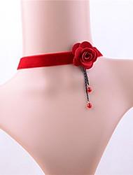 economico -Per donna Classico Girocolli - Perle finte, Pizzo Fiore decorativo Romantico, Dolce Adorabile Rosso 30 cm Collana Gioielli 1pc Per Matrimonio, Party / serata