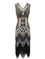cheap -Women's Elegant Butterfly Sleeves Sheath Dress - Geometric Black & Red, Sequins / Beaded / Tassel