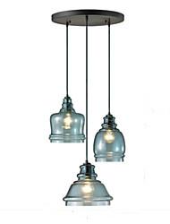 Недорогие -QINGMING® 3-Light Мини Подвесные лампы Потолочный светильник Окрашенные отделки Металл Стекло Мини 110-120Вольт / 220-240Вольт Лампочки не включены / VDE / E26 / E27