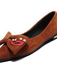 Недорогие -Жен. Полиуретан Осень Удобная обувь На плокой подошве На плоской подошве Заостренный носок Бант Черный / Бежевый / Коричневый