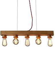 abordables -5 lumières Plafonnier pour Ilôt de Cuisine Lustre Lumière dirigée vers le bas Bois Bois / Bambou Bois / Bambou Style mini, Arbre 110-120V / 220-240V Ampoule non incluse