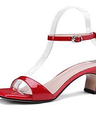 povoljno -Žene Cipele Mekana koža Ljeto Udobne cipele Sandale Stiletto potpetica Obala / Crn / Crvena