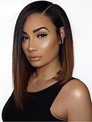 cheap -Virgin Human Hair 360 Frontal Wig Brazilian Hair Straight Wig Bob Haircut / Deep Parting / Side Part 150% Women / Sexy Lady / Color Gradient Brown Women's Mid Length Human Hair Lace Wig