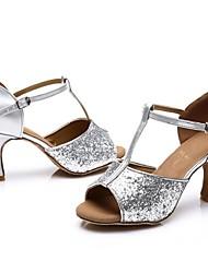Недорогие -Жен. Обувь для латины Лакированная кожа Сандалии / На каблуках Планка Тонкий высокий каблук Персонализируемая Танцевальная обувь Серебряный