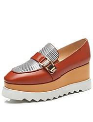 abordables -Femme Chaussures Cuir Nappa Printemps été Confort Mocassins et Chaussons+D6148 Hauteur de semelle compensée Noir / Marron