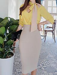Недорогие -Жен. Блуза Юбки Однотонный Глубокий V-образный вырез