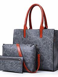 baratos -Mulheres Bolsas PU Conjuntos de saco 3 Pcs Purse Set Cor Única Vermelho / Marron / Cinzento Escuro