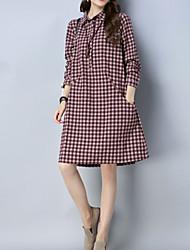 cheap -women's linen shirt dress knee-length shirt collar