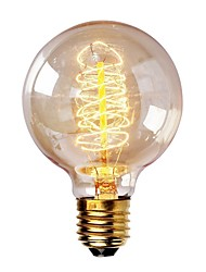 Недорогие -1шт 40 W E26 / E27 G80 Тёплый белый 2200-2700 k Ретро / Диммируемая / Декоративная Лампа накаливания Vintage Эдисон лампочка 220-240 V