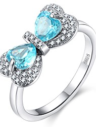 cheap -Women's Synthetic Aquamarine Stylish Ring - Copper Heart Romantic, Korean 6 / 7 / 8 / 9 / 10 Light Blue For Gift