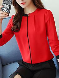 baratos -Mulheres Blusa Negócio / Básico Pregueado / Patchwork, Sólido Preto e Vermelho / Preto & Branco