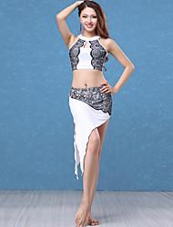 abordables -Danse du ventre Tenue Femme Utilisation Modal / Dentelle Dentelle / Ruché Sans Manches Taille basse Jupes / Haut