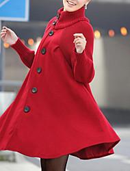 Недорогие -Жен. Повседневные Классический / Уличный стиль Наступила зима Длинная Пальто, Однотонный Хомут Длинный рукав Спандекс Черный / Красный / Темно-серый / Свободный силуэт