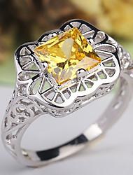 abordables -Femme Classique Creux Bague - Cuivre, Platiné, Imitation Diamant Créatif Classique, Elégant, British 6 / 7 / 8 / 9 / 10 Jaune Pour Mariage Soirée