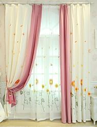 baratos -Cortinas cortinas Quarto Floral / Geométrica Poliéster Impressão Reactiva