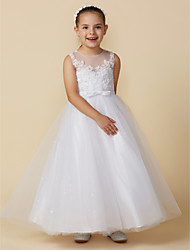 cheap -Princess Ankle Length Flower Girl Dress - Lace / Tulle Sleeveless Boat Neck with Bows / Lace by LAN TING BRIDE® / Engagement Party