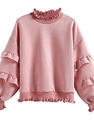 baratos -camisola de manga comprida de algodão para mulher / capuz - decote redondo em cor sólida