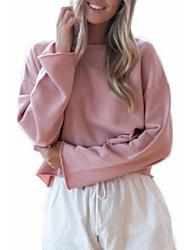 baratos -camisola solta de mangas compridas para senhora - decote redondo em cor sólida
