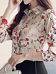 Недорогие -Жен. С принтом Рубашка Деловые / Классический Цветочный принт / Геометрический принт / В клетку маргаритка / Цветок солнца