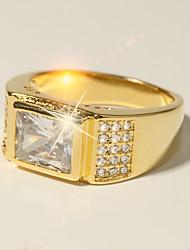 baratos -Homens Clássico Fashion Anel - Imitações de Diamante acreditam Clássico, Férias, Fashion 7 / 8 / 9 / 10 / 11 Dourado Para Formal Encontro