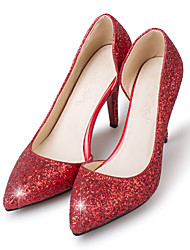 cheap -Women's Pumps Faux Leather / Synthetics Spring &  Fall Classic Wedding Shoes Stiletto Heel Pointed Toe Sequin Gold / Silver / Light Red / Party & Evening