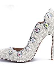 abordables -Femme Polyuréthane Printemps & Automne Business Chaussures de mariage Talon Aiguille Bout pointu Strass / Perle Blanc / Mariage / Soirée & Evénement