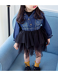 cheap -Baby Girls' Solid Colored / Color Block Long Sleeve Dress