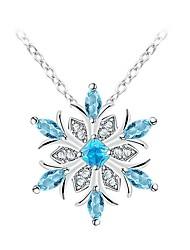 billiga -Dam Klassisk / Trendig Hänge Halsband - Diamantimitation Snöflinga Stilig, Klassisk Silver 35+5 cm Halsband Smycken 1st Till Dagligen