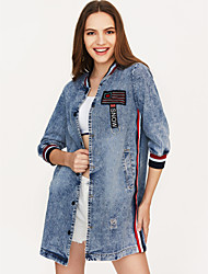 cheap -Women's Denim Jacket - Color Block, Print