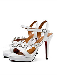 cheap -Women's Shoes Nappa Leather Summer Comfort Sandals Stiletto Heel White / Black