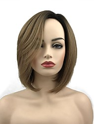 cheap -Synthetic Wig Straight Short Bob Synthetic Hair 10 inch Synthetic Brown Wig Women's Short Capless