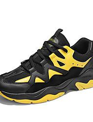baratos -Homens Sapatos Confortáveis Couro / Com Transparência Outono Esportivo Tênis Corrida Não escorregar Estampa Colorida Branco / Branco / Preto / Preto / Amarelo