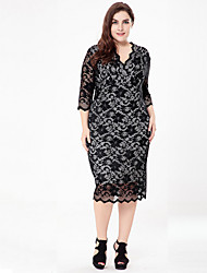 cheap -Women's Street chic / Elegant Bodycon / Shift / Sheath Dress - Solid Colored Lace / Cut Out / Patchwork
