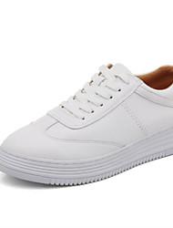 billige -Dame Sko Læder Efterår Komfort Sneakers Flade hæle Hvid