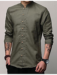 cheap -Men's Cotton / Linen Shirt - Solid Colored / Short Sleeve