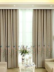 お買い得  -遮光 カーテンドレープ 2パネル 2*(W140cm×L259cm) ダークイエロー / 刺繍 / ベッドルーム