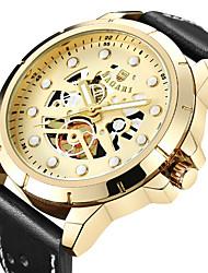 Недорогие -Муж. Спортивные часы Наручные часы Японский Кварцевый С гравировкой Повседневные часы Cool Натуральная кожа Группа Аналоговый Роскошь Мода Черный / Коричневый -