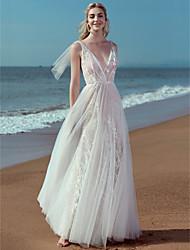 baratos -Linha A Decote V Longo Renda / Tule Vestidos de casamento feitos à medida com Apliques / Renda de LAN TING BRIDE® / Pretíssimos