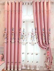 preiswerte -Gardinen Shades Schlafzimmer Solide Baumwolle / Polyester Stickerei