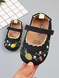 Недорогие -Девочки Обувь Кожа Лето Обувь для малышей На плокой подошве На липучках для Дети Черный / Бежевый