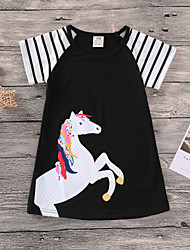 economico -Bambino / Bambino (1-4 anni) Da ragazza In bianco e nero Monocolore / Collage Manica corta Vestito