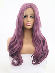 cheap -Synthetic Lace Front Wig Wavy Style Middle Part Lace Front Wig Purple Purple Synthetic Hair 20-24 inch Women's Adjustable / Heat Resistant / Party Purple Wig Long Natural Wigs